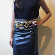 Jean Paul Gaultier Cracked Detail Leather Pencil Skirt 1990's Vintage Size 26w Photo