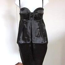 Jean Paul Gaultier Femme Black Silk Satin Bustier Removeable Strap Dress-Sz 6/xs Photo