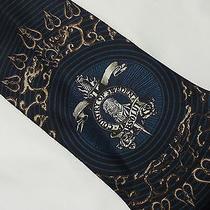 Jean Paul Gaultier Silk Tie Country of Sweden Absolut Gothic Dagger Black Green Photo