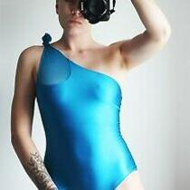 Jean Paul Gaultier Soleil Blue Shiny Material Swimsuit With Mesh Size 42 Photo