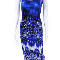 Jean Paul Gaultier Soleil Womens Floral Print v Neck Maxi Dress Blue Size Large Photo