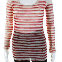 Jean Paul Gaultier Soleil Womens Striped Blouse Ivory Red Size Large Photo