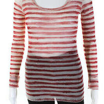 Jean Paul Gaultier Soleil Womens Striped Blouse White Red Size Medium Photo