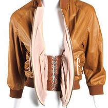 Jean Paul Gaultier Tan Leather & Pink Corset Detail Bomber Jacket 42 Photo
