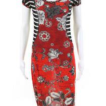Jean Paul Gaultier Womens Abstract Striped Mesh Sheath Dress Red Black Sz Medium Photo