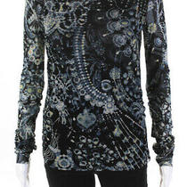 Jean Paul Gaultier Womens Jewelry Print Blouse Black Size Medium Photo
