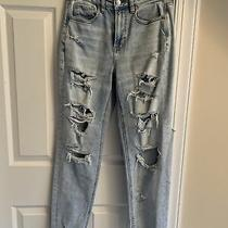 Jeans - American Eagle - Mom Jeans - Light Blue - Destroyed - Sz 4 - Nwt Photo