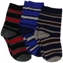 Jefferies Socks Boys 2-7 Rugby Stripe Triple Treat Socks 3 Pair Pack  Smoke  Tod Photo