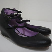 Jeffery Campbell Black Leather Hidden Wedge Style More 7 M  Photo
