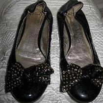 Jeffery Campbell Black Patent Leather Womens Ballet Flats W/ Bow Shoes Sz 8   Photo