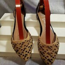 Jeffery Campbell Black & Tan Laser Cut d'orsay Flats Size 7.5 in Good Condition Photo