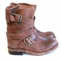 Jeffery Campbell Brown Leather Ankle Strap Mid Hight Motorcycle Boot Buckle Sz 6 Photo