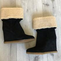 Jeffery Campbell Faux Shearling Wedge Boot in Black Suede Size 8 Orig. 284 Photo