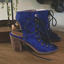 Jeffery Campbell Free People Blue Suede  Lace Up Sandal Msrp 193.00 Photo