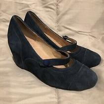 Jeffery Campbell Havana Last Orla Navy Suede Leather Wedge Mary Jane Sz 5.5 Photo