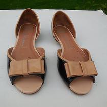 Jeffery Campbell Ladies Blsck & Beige Patent Open Toed Flats Size 8.5 M Photo