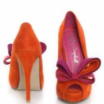 Jeffery Campbell Orange Suede Garret Peep Toe Heel Photo