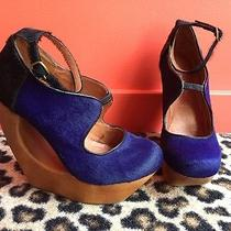 Jeffery Campbell Purple & Black Pony Hair Wooden Wedge Shoes Size 6 Photo