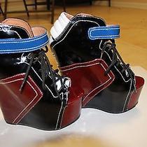 Jeffery Campbell Wedge Shoes  Burgundy Royal Blue & Cream  Photo
