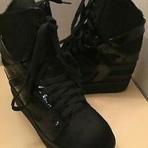 Jeffery Campbell Women Black Platform High Top Hidden Wedge Sneaker Shoes Size 8 Photo