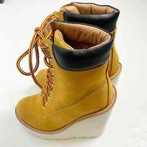 Jeffrey Cambell Boss Wedge Lace Up Combat Boots Sz 7 Wheat White Photo