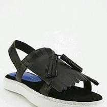 Jeffrey Campbell 148  Women's Hawkins Black Leather Tassel Slingback Sandals 7 Photo