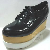 Jeffrey Campbell 178 Women's Digby Platform Sneakers Sz 7 Black Leather Wood Photo