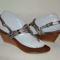 Jeffrey Campbell 6.5 Metallic Silver & Brown Leather Low Wedge Thong Sandal Usa Photo