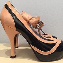 Jeffrey Campbell 7 M Beige Black Patent Leather T Strap Platform Pumps Heels  Photo