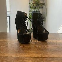 Jeffrey Campbell 8.5 Wedge Booties Cutout Suede Black Lace Up Photo