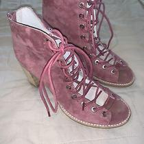 Jeffrey Campbell 8 Pink Lace Up Open Toe Booties Photo