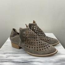 Jeffrey Campbell 8 Tagline Step Down Gray Suede Perforated Ankle Booties Boots Photo