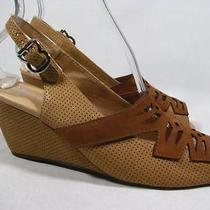 Jeffrey Campbell Abbey Slingback Wedge Women Size 9.5 M Brown Leather Photo