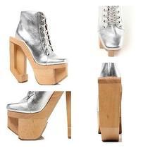 Jeffrey Campbell  Alia  Silver Leather Wood Platforms Heels Unif 7.5 Photo