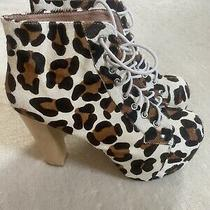 Jeffrey Campbell Animal Print Pony Hair Booties Size 8.5 Photo
