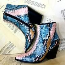 Jeffrey Campbell Ankle Boot Prism Multi Snake Pink Blue Black Cowboy 6.5 New Photo