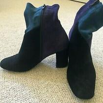 Jeffrey Campbell Ankle Boot Suede Faux Black Purple Teal Womens Size 7 Photo