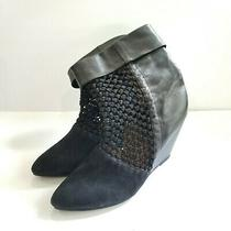 Jeffrey Campbell Ashia Black Suede Faux Leather Crochet Pull on Wedge Boots 10 Photo