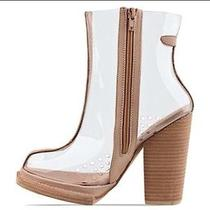 Jeffrey Campbell Attina Boots in Beige & Clear Nasty Gal Sold Out See Through Photo