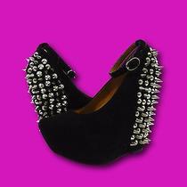 Jeffrey Campbell 'Aubrey Spike' Black Suede Leather Ankle Strap Wedges Sz 5 Photo