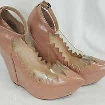 Jeffrey Campbell Audrey Two Pink Vinyl Patent Platform Wedges as Is Womens 7.5 Photo