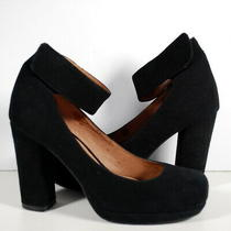Jeffrey Campbell Aurora Black Suede Ankle Strap Pump Chunky Sz 6.5 M Photo