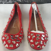 Jeffrey Campbell Baby-Love Red Suede With Silver Heart Studs  Size 10 Photo