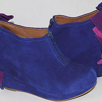 Jeffrey Campbell Backbow Royal Blue Suede Wedge Ankle Boot   Sz 7  Soldout Photo