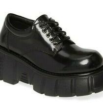 Jeffrey Campbell Barge Chunky Platform Oxford Women's Leather Boots Black Size 7 Photo
