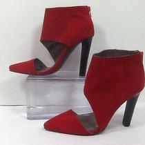 Jeffrey Campbell Barnes Red Suede Heeled Zipper Backed Bootie Sz 7.5m  Euc Photo