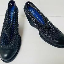 Jeffrey Campbell Basket Weave Leather Mules Shoes Sz 7.5 Black Heels Havana Euc Photo