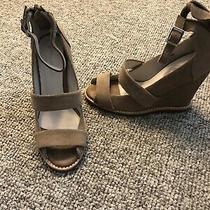 Jeffrey Campbell Beige Suede  Ankle Zip Open Toe Wedge Heels Sz 6/6.5 M New Photo