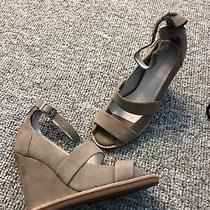 Jeffrey Campbell Beige Suede  Ankle Zip Open Toe Wedge Heels Sz 6/6.5 M New Photo