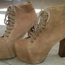 Jeffrey Campbell Beige Suede Lita Heeled Platform Boot Size 9.5 Women's Photo